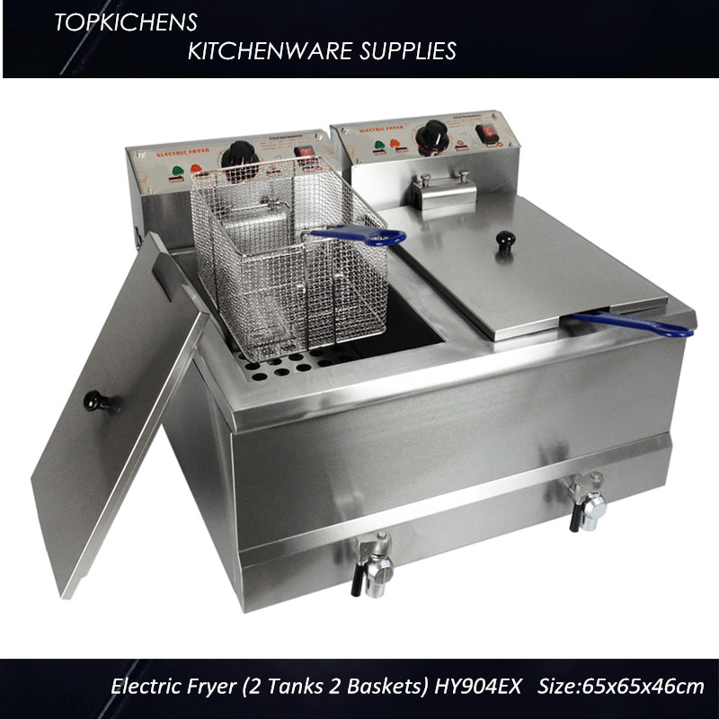 Commercial Electric fryer(2 tank 2 basket)HY-904EX Deep fryer,Chip fryer with Oil Valve<br><br>Aliexpress