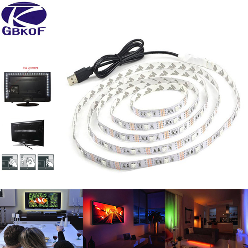 SMD 5050 RGB Led Strip waterproof 5V USB Cable Power TV Backlight Led Strip 50CM 1M 2M Tira Led Tape Bande Lighting Home