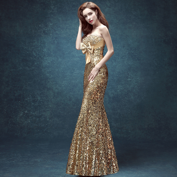 2015 Fashion Sexy Evening Dress Plus Size Gold Mermaid Sequins Sweetheart Strapless Long Prom vestido de novia - He's Bride Wedding&Party Store store