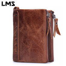 LMS 2017 Fashion Genuine Leather Wallet Short Coin Purse Vintage Men Wallets Double Zippers Card Holder Business Purse Clutch(China (Mainland))