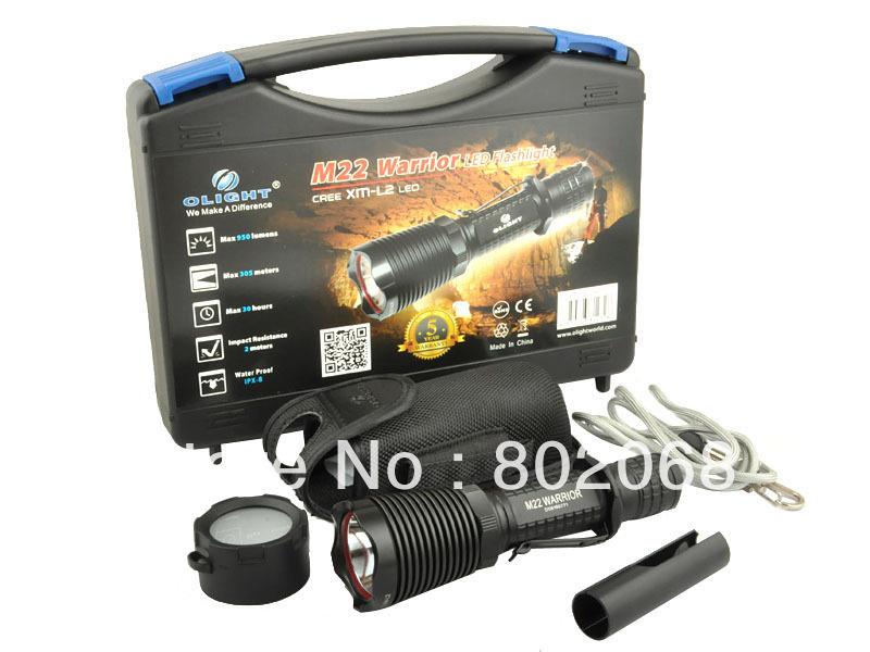 Olight M22 WARRIOR CREE XM-L2 960 lumens 4 Mode Aluminum LED Flashlight Kit,Free Shipping(China (Mainland))
