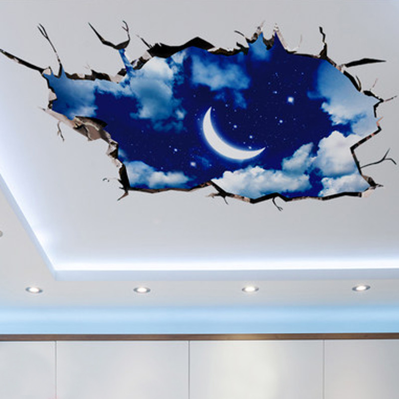 3D Outer Space Wall Sticker Moon Stars Planet Wall Stickers For Kids Rooms Sky Smashed Wall Decal Art Stickers Mural(China (Mainland))