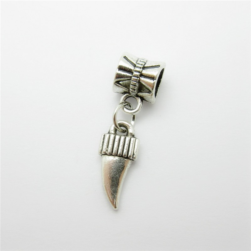 Ancient silver 25pcs wolf\'s fang charms bead fit Pandora bracelet ...