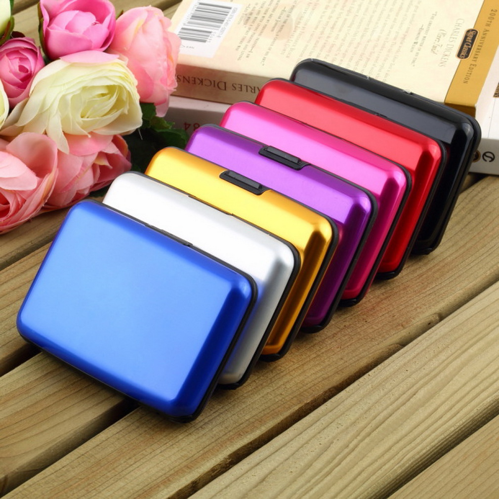 1Pc High Quality Business ID Credit Card Holder Wallet Pocket Case Aluminum Metal Shiny Side Anti RFID scan Cover Hot(China (Mainland))