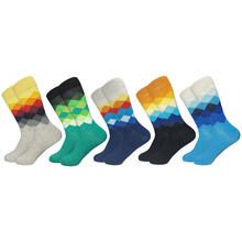 2019 heißer Verkauf Casual Männer Socken Neue Socken Herbst und Winter Plaid Bunte glückliche Business Party Kleid Baumwolle Socken Mann(China)