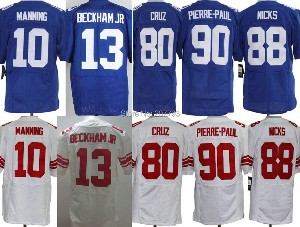 Eli Manning Jerseys 80 Victor Cruz 13 Odell Beckham JR Jason Pierre-Paul Elite Top quality Football Jersey can mix order(China (Mainland))