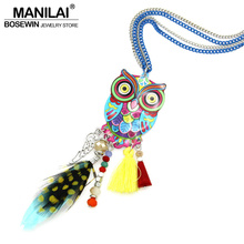 Buy MANILAI Fashion Long Chain Multicolor Owl Pendant Necklaces Feather Crystal Bead Tassel Women New Accessories Charm Jewelry for $3.91 in AliExpress store