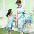 2016 mother and daughter summer clothes family matching outfits mum girl beach Bohemian sleeveless floral chiffon