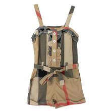 New 2015 Hot  summer style girls jumpsuit hot selling kids clothes baby girls fashion sling khaki  siamese shorts(China (Mainland))