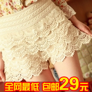 2013 spring and summer shorts cutout crochet lace safety pants shorts plus size high waist skirt basic pants