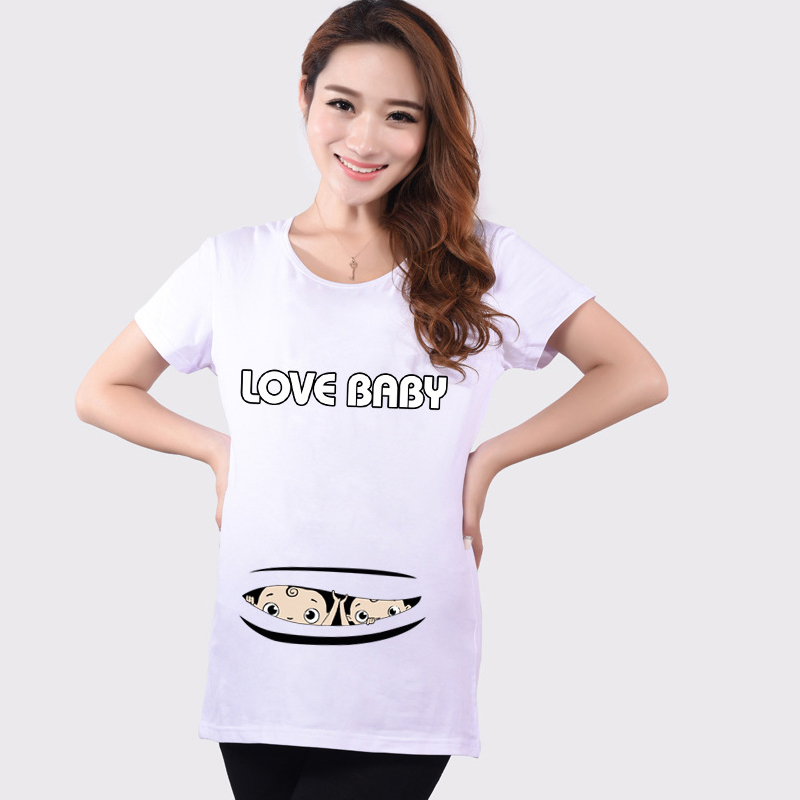 Summer HOT Sale Maternity Funny T Shirts Baby Peeking Out ...