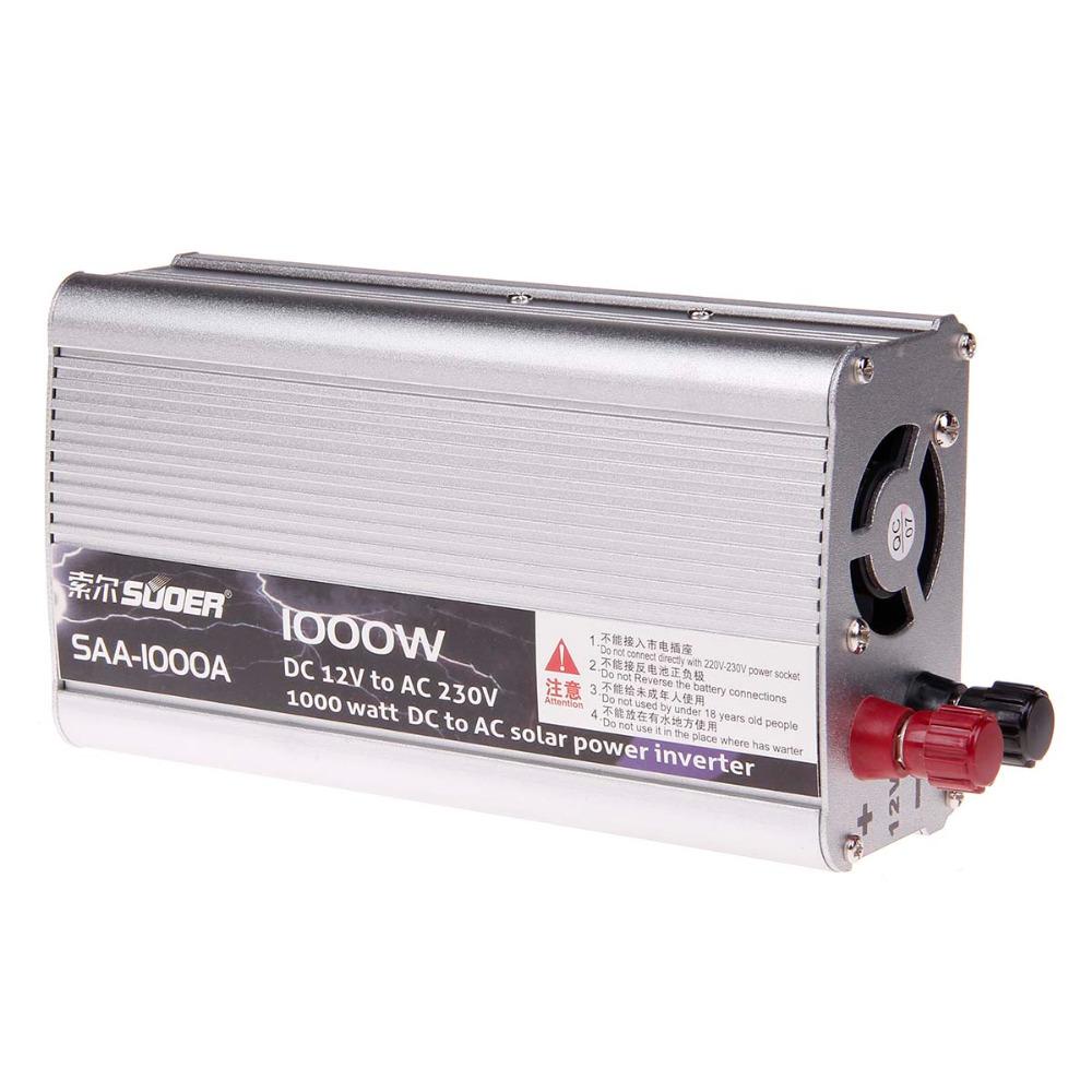 SUOER SAA-1000A 1000W DC12V to AC 230V High-power Solar Car Power Inverter - Silver(China (Mainland))