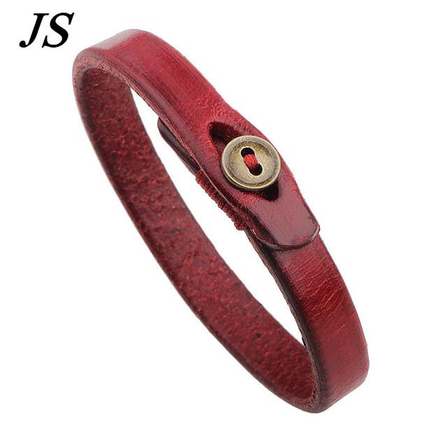 Js шарм лаки красный из натуральной кожи браслеты женщины веревка пояса Braclet роковая ...