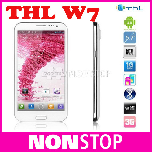 "2013 Free shipping Original THL W7 5.7"" IPS cellphone MTK6577 1GB RAM 4GB QUAD Core Android 4.0 3G WCDMA phone/John(China (Mainland))"