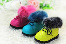 Hot new winter brand baby warm Rabbit hair boots baby prewalker shoes first walkers  baby cotton-padded shoes infant snow boots(China (Mainland))