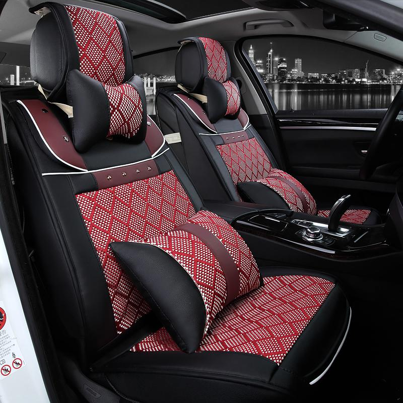 full set 5 seat luxury black seats universal car seat cover car interior accessories leather car. Black Bedroom Furniture Sets. Home Design Ideas