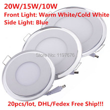 2015 New Arrival 3D LED Panle Light 20W Recessed LED Ceiling Downlight Warm White/Cold White+Bule indoor Lamp AC85-265V(China (Mainland))