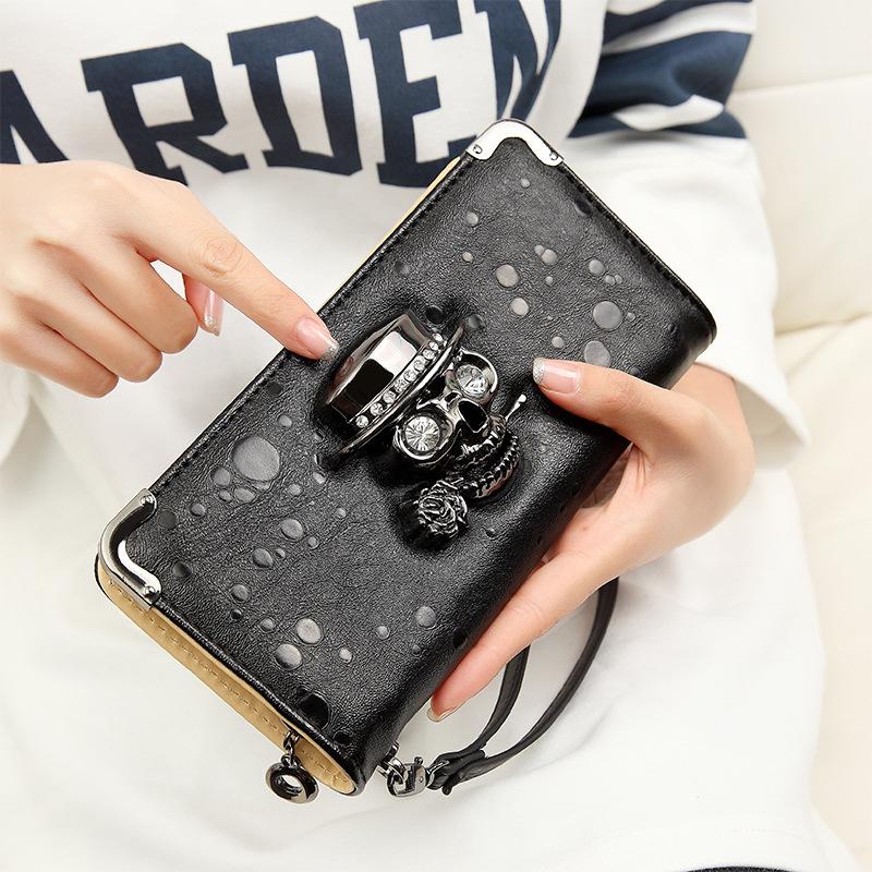 Free DHL Fedex 100pcs/lot Wholesale Punk diamond skull women leather wallet long section of 4 colors(China (Mainland))