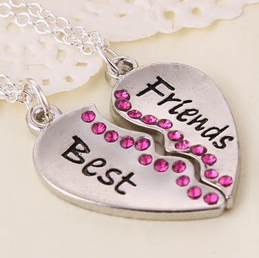 2pcs 2015 Movie Fashion Crystal Broken Heart Silver Pendant Parts 2 Best Friend Necklaces & Pendants,Share With Friends(China (Mainland))