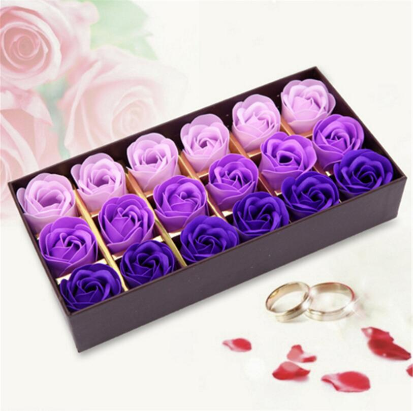 Rose Soap Flower Scented Soap Flower Petals 18 Heads With Box For Valentine's Day Birthday Gift Artificial Flowers For Decor(China (Mainland))