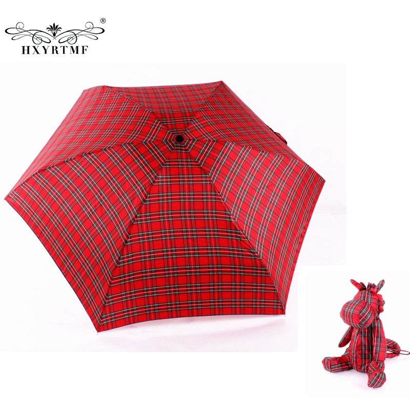 Women Ultralight Manual Umbrellas With Lovely Bear Small Umbrella Case 5 Folding Anti-UV Sun/Rain Elargol Coating Parasol(China (Mainland))
