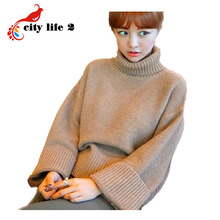 Loose Turtle Neck Sweater 2016 Winter New Korean Thick Retro Ladies Pullovers Fashion Rabbit Wool Pulover Feminino(China (Mainland))