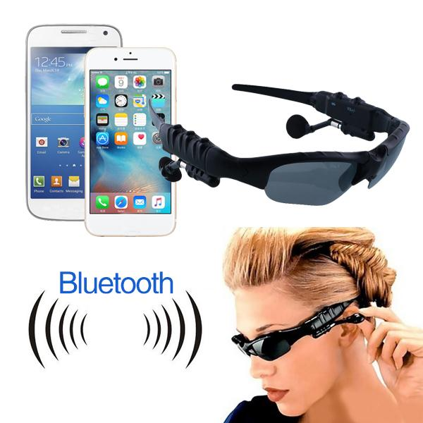 Sunglasses style wireless Bluetooth earphone with microphone and 4 colors glasses lens for traveling and driving(China (Mainland))