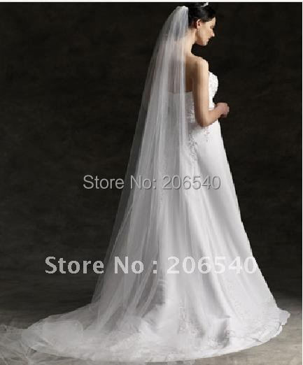 """NEW High Quality 118"""" 1Tier Cathedral Bridal Veil ultra long Mantilla with comb"""