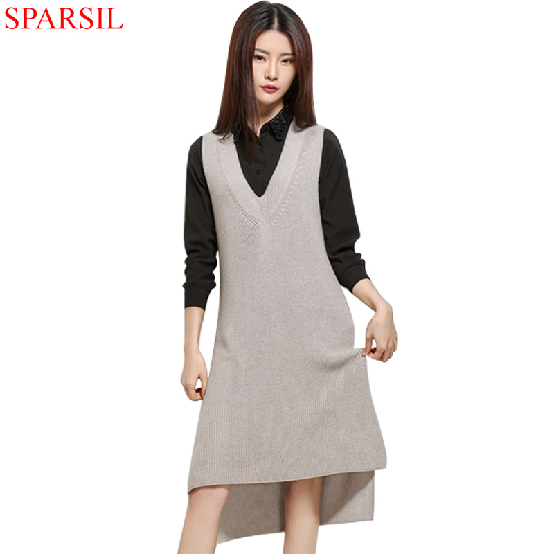 Sparsil Women's Spring new V-Neck Knee-Length Sleeveless Dress Cashmere Blend Female Irregular Hem Style Knitted All-match Dress(China (Mainland))