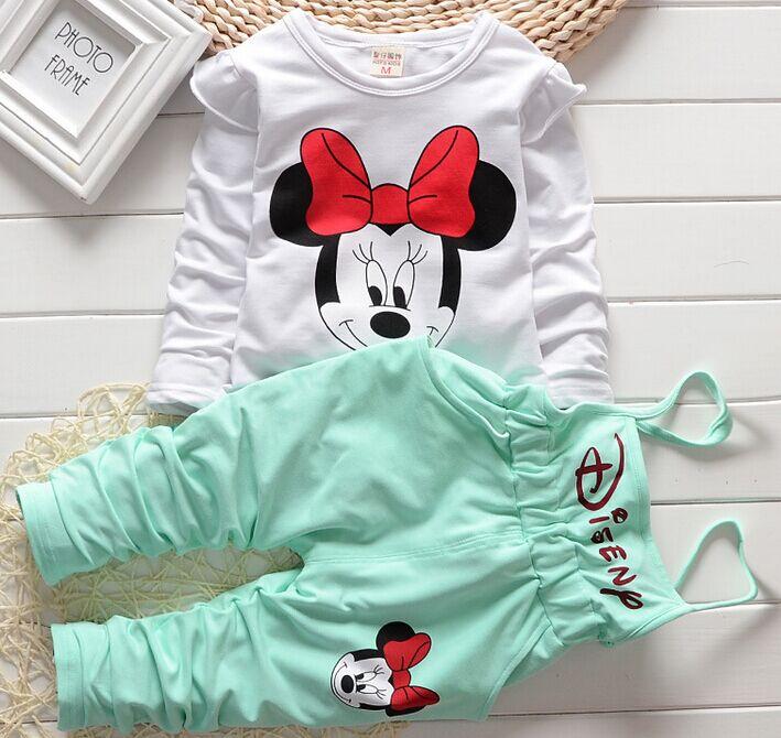 Girl's Long Shirt + Overalls Sets , Girl Spring Autumn 2pcs Suit , Children Cartoon Clothing Kids Sets E55-A005(China (Mainland))