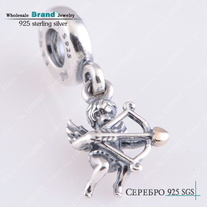 Gold Plated Heart Cupid Charm Beads Fits Pandora Bracelets Authentic 925 Sterling Silver Dangle Cupid Heart Bead Diy Jewelry<br><br>Aliexpress