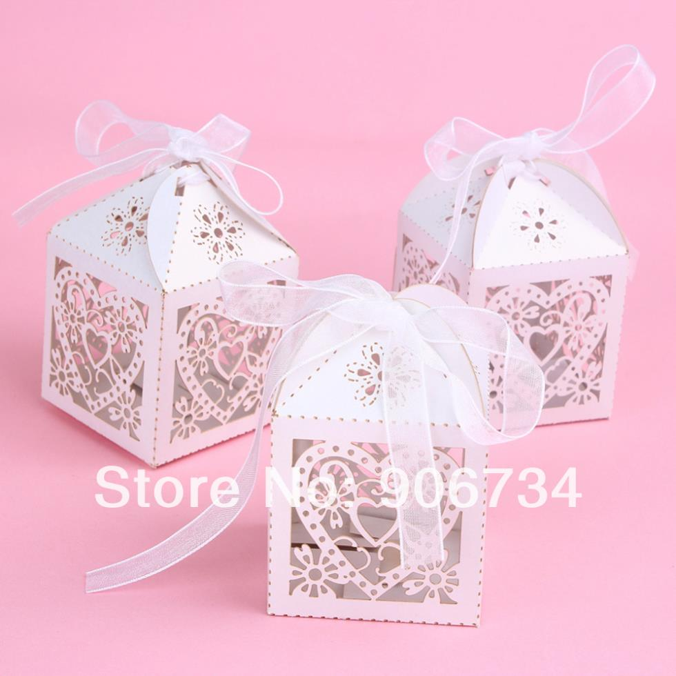 Promotional Love Heart Laser Cut Gift Candy Boxes With Ribbon Wedding Party Favor Box(China (Mainland))