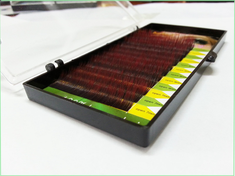 Rainbow two-tone two color red eyelashes 100% human hair eyelash extension mix size free shipping(China (Mainland))