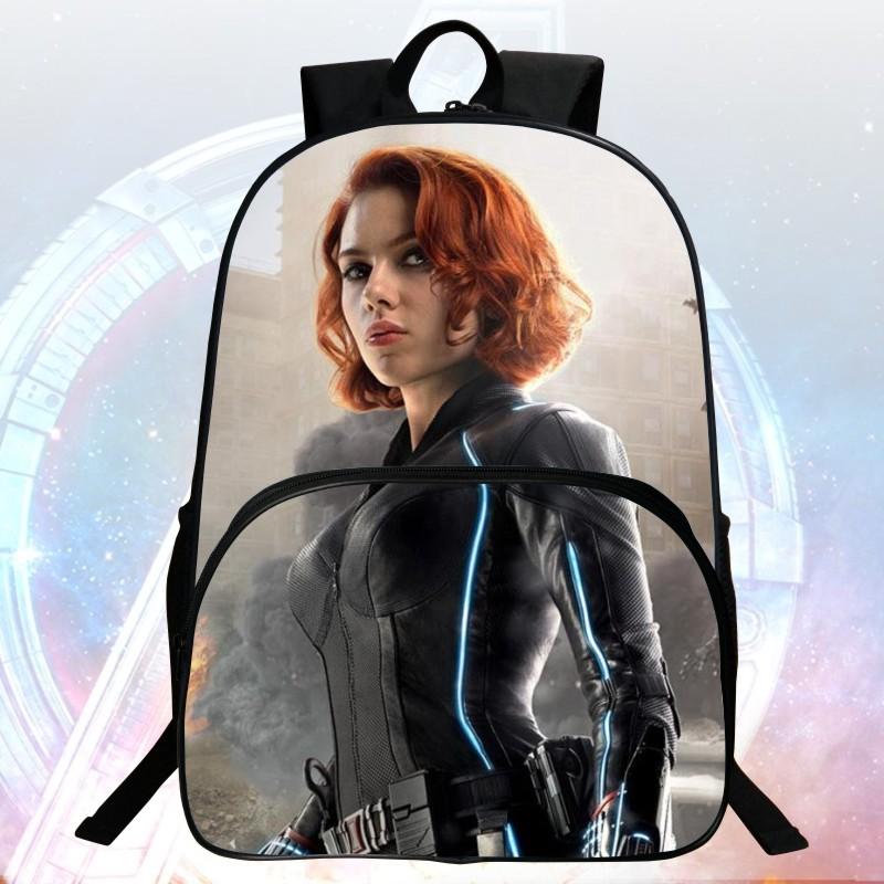 New 16 inch Prints Cool Hero Avengers Kids School Bags Students Backpacks Black Widow Boys School Backpack Child Mochila Bag