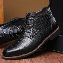 Yeni 2019 Kış Çizmeler Erkekler Hakiki Deri Sıcak Peluş Kış Ayakkabı erkek Botları Erkek Marka Ayak Bileği Botas ZHK239(China)