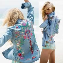 denim jacket women jacket fashion denim shirt tops long sleeves blue vintage boho hippie chic embroidery basic jackets clothing(China (Mainland))