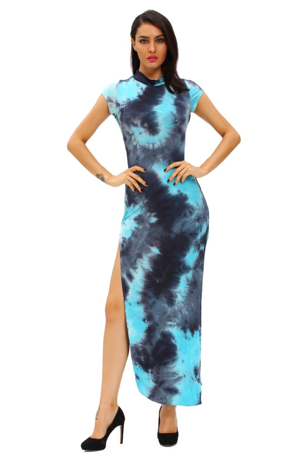 Bluish-Tie-Dye-Vintage-Short-Sleeve-Cheongsam-Dress-LC60955-4-5
