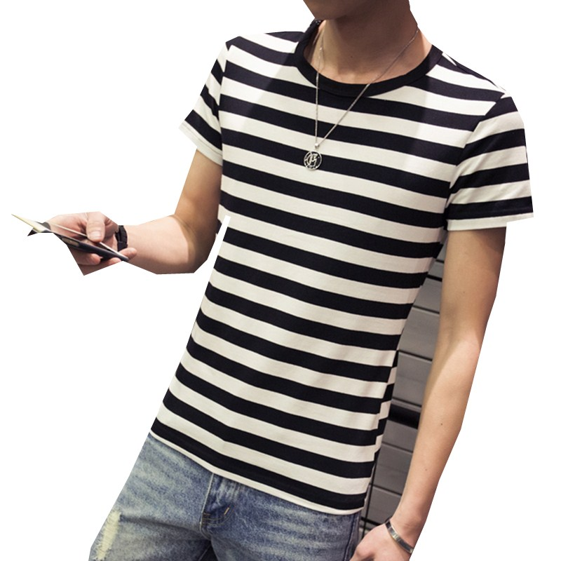 Mens Black White Stripe T Shirt Short Sleeve Promotion-Shop for ...