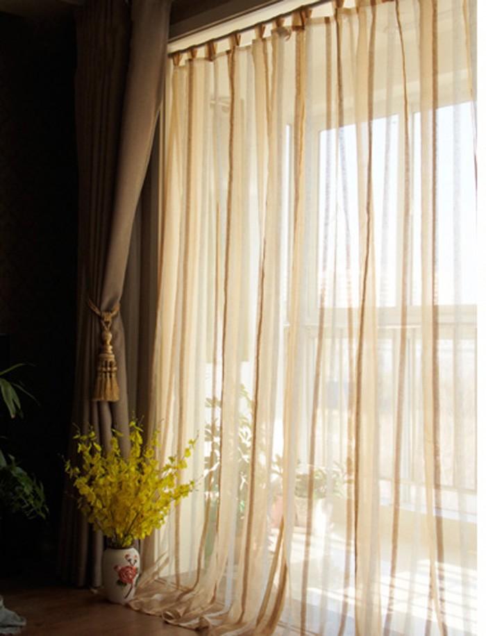 W140xh245cm esmagado bege jacquard de seda tarja acabados cortinas exibições sala quarto varanda sombra gaze(China (Mainland))