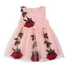 Thời trang Mùa Hè Cô Gái Thời Trang Thêu Rose Dress Trẻ Em Trẻ Em Không Tay O-Cổ Mini Dress(China)