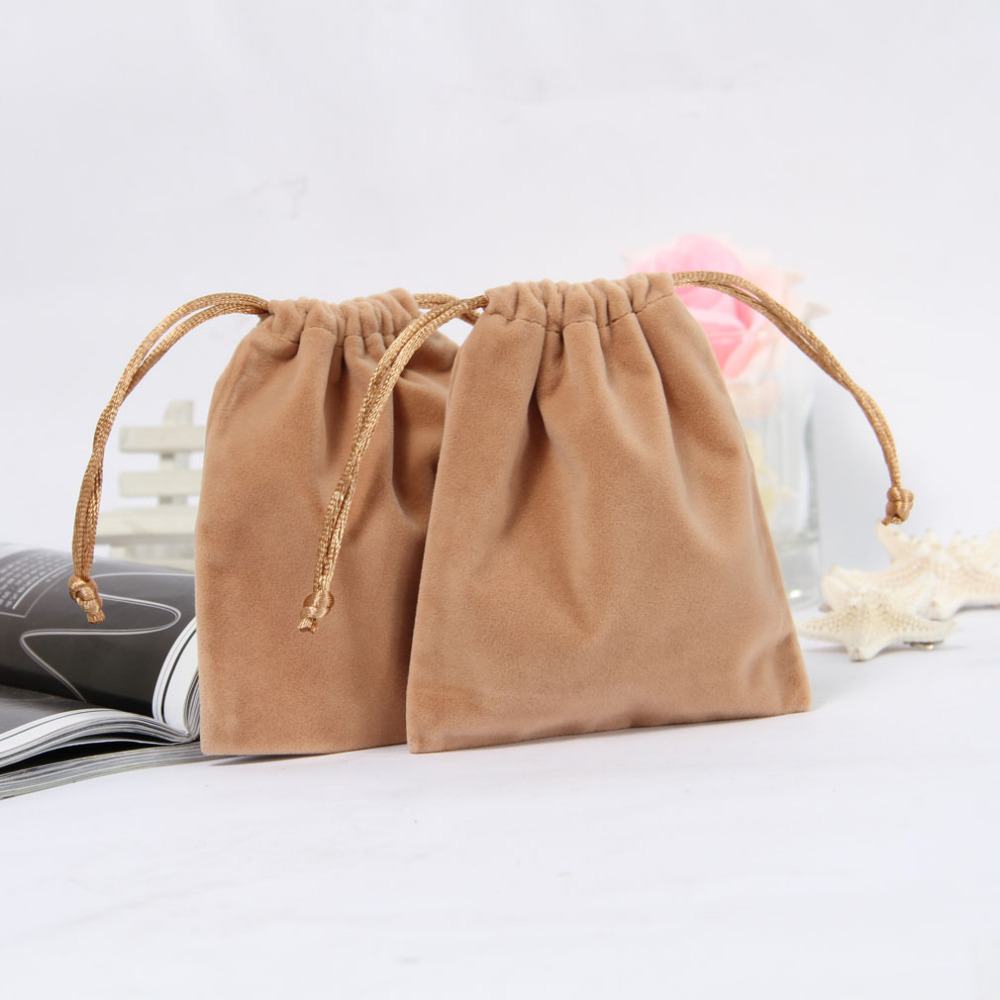 Hot Selling 100pcs/lot 10.5*12cm High Quality Apricot Solid Suede Jewellery Pouch Candy Bags XD12 Free Shipping(China (Mainland))