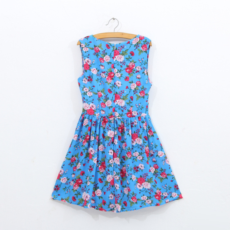 dresses for girls dresses summer 2015 print with flowers teenage 12 years old girls college clothing size 16 girls formal dress(China (Mainland))