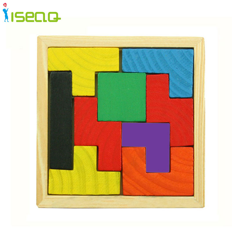 Wooden Tangram Brain Teaser Puzzle Tetris Game Educational Baby Child Kids Toys Jigsaw Puzzles WOOD Jigsaw Puzzle(China (Mainland))