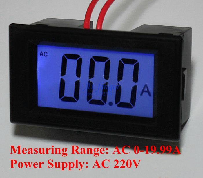 AC 0-19.99A LCD display digital current amp ampere panel gauge meter ammeter digital power supply AC 220V Free shipping<br><br>Aliexpress