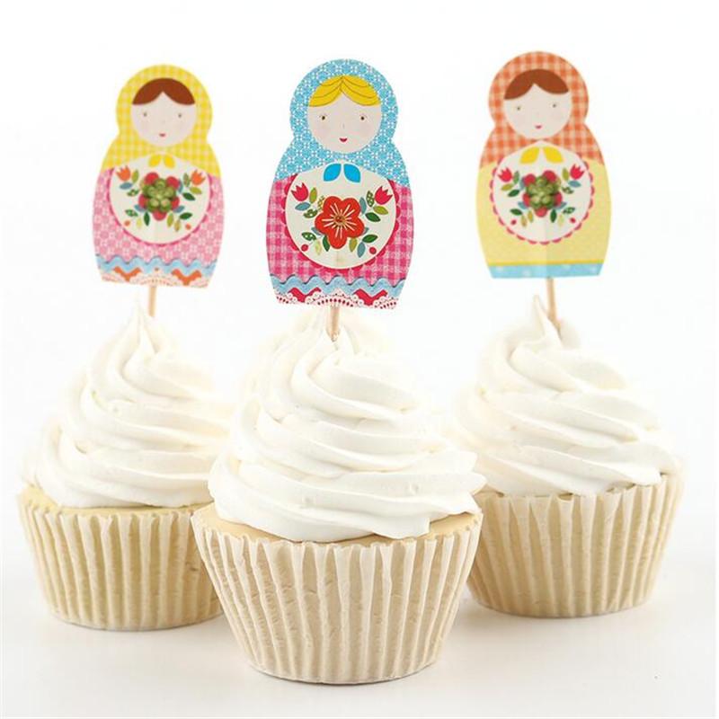 kids birthday party supplies matryoshka cupcake topper cake decorating halloween easter decoration cheap christmas ornament
