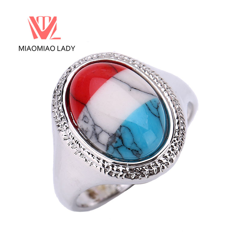 New Boho Trendy Party Rings Fashion Vintage Big Oval Natural Opal Stone Rings Jewelry Female Retro Heart Wedding Rings For Women