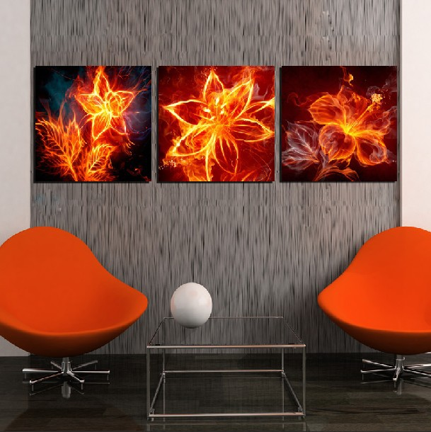 3 Panel Modern Painting Home Decorative Art Picture Paint on Canvas Prints The flame of lilies, daffodils and jasmine(China (Mainland))