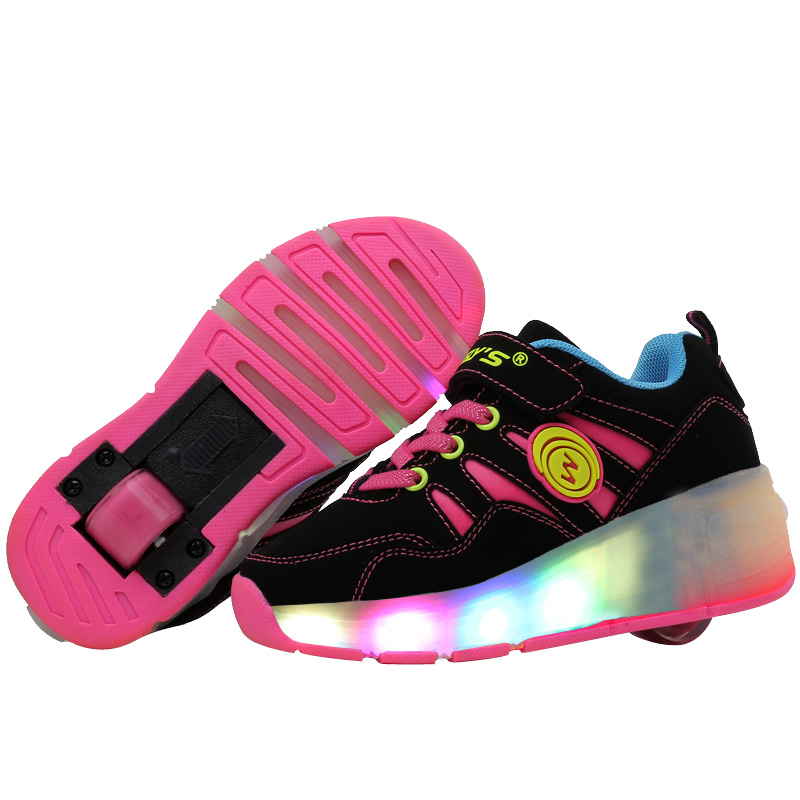 New 2016 Fashion Child Heelys Girls Boys LED Light Heelys Roller Skate Shoes For Children Kids Sneakers With Single Wheels pink(China (Mainland))