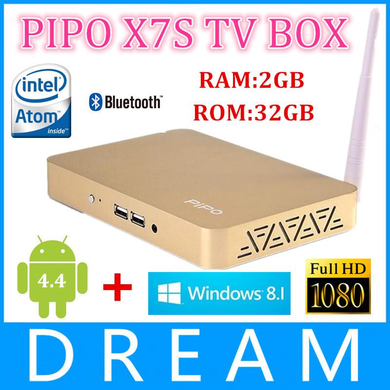 5pcs/lot PIPO X7S Windows 8.1 & Android 4.4 Dual OS Smart TV Box Intel Atom Z3736F 1.83GHz Quad Core 2GB/32GB XBMC Media Player(China (Mainland))