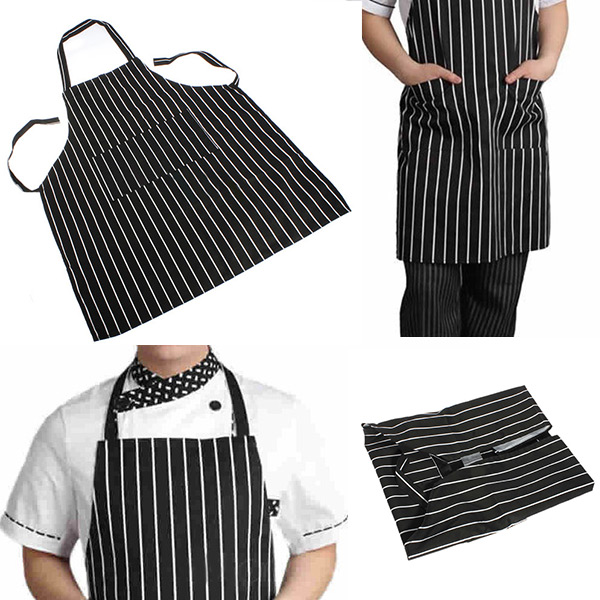 Durable Adjustable Black Stripe Apron with 2 Pockets Chef Kitchen Resturant Necessary Home Essential(China (Mainland))